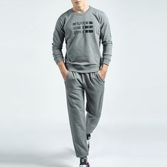 MaxBlue - Set: Printed Sweatshirt + Lettering Sweatpants