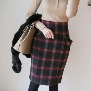 ode' - High-Waist Pocket-Accent Plaid Skirt