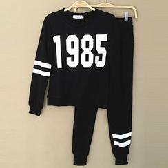 Rebecca - Set: Number Print Pullover + Sweatpants