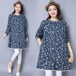 Ebbie - Floral Print Long Sleeve Tunic