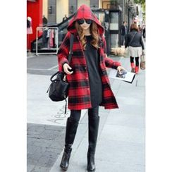 REDOPIN - Hooded Check Snap-Button Coat