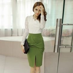Gl.bY - Set: Lace Panel Long Sleeve V-Neck Top + Bow Pencil Skirt