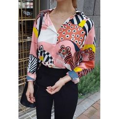 BBORAM - Long-Sleeve Animal Printed Blouse