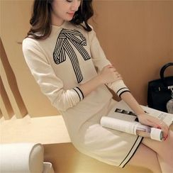 Pecora - Bow Print Collared Long Sleeve Sweater Dress