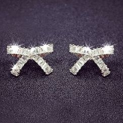 Nanazi Jewelry - 925 Sterling Silver Ribbon Earrings