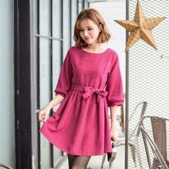 Tokyo Fashion - Elbow-Sleeve Tie-Waist Dress