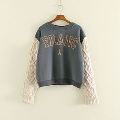 Mushi - Cable Knit Panel Lettering Sweatshirt