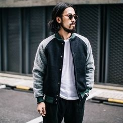 YIDESIMPLE - Color-Block Wool Baseball Jacket