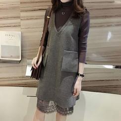 Little V - Set: Long Sleeve Lace Dress + Pinafore Dress