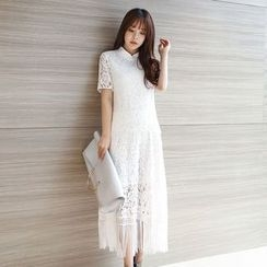 AiSun - Short-Sleeve Lace Dress