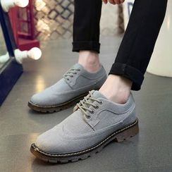 BINSHOU - Brogue Linen Oxfords