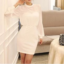 Everose - Long-Sleeve Tulle Panel Sheath Dress