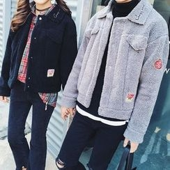 FULLHOPE - Couple Matching Applique Fleece Jacket