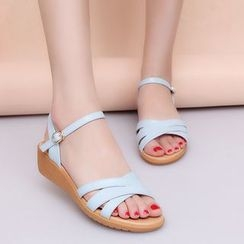 MANMANNI - Faux-Leather Wedge Sandals