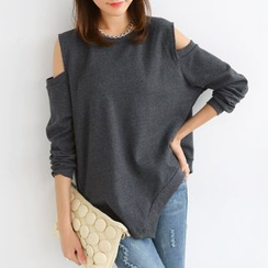 SO Central - Asymmetric Hem Shoulder Cutout Top