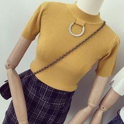 Honeydew - 短袖高领针织上衣