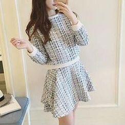 Cloud Nine - Set: Long-Sleeve Woven Top + A-Line Skirt