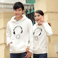 Porspor - Couple Matching Cartoon Print Hoodie