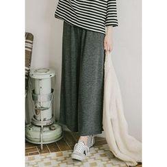 GOROKE - Wide-Leg Rib-Knit Pants