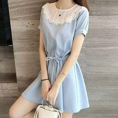 EFO - Short-Sleeve Drawstring Paneled Dress