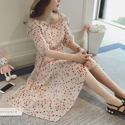 Munai - Printed Cutout-Shoulder Chiffon Dress