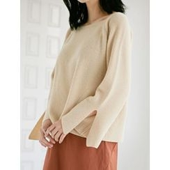 FROMBEGINNING - Square-Neck Wool Blend Pointelle-Knit Top