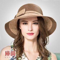 BADA - 可折疊拼色蝴蝶結草帽