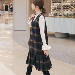 EFO - 套装:钟形袖口上衣 + 打褶裥格子连衣裙