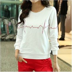 Zyote - ECG Line Print Long-Sleeve T-Shirt