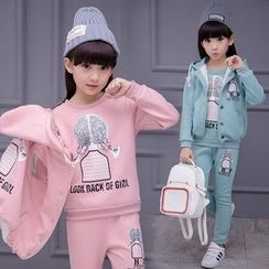 Pegasus - Kids Set : Print Fleece-lined Sweatshirt + Sweatpants + Hooded Jacket