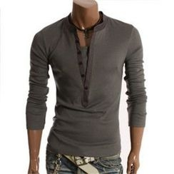 Hansel - Long Sleeve Henley T-Shirt