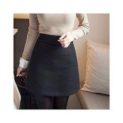 MASoeur - Faux-Pearl Trim A-Line Mini Skirt