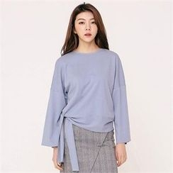 MAGJAY - Wide-Sleeve Tie-Waist Top