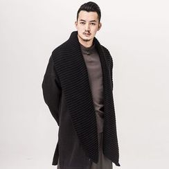 Ashen - Chinese-Style Open-Front Lapel Knit Jacket