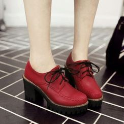 Pastel Pairs - Platform Chunky Heel Oxfords