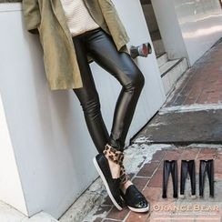 OrangeBear - Leather Panel Velvet Leggings