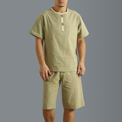 Sparrow Farm - 套裝: 短袖棉麻上衣 + 短褲