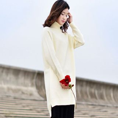 Yammi - Plain Turtleneck Knit Tunic