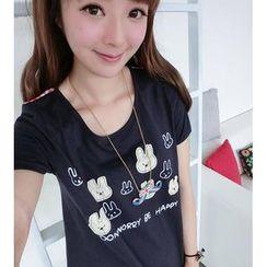 59 Seconds - Rabbit Print Appliqué Gingham Panel T-Shirt
