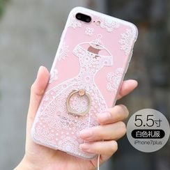 RERIS - Lace Print Ring Holder Mobile Case with Neck Strap - Apple iPhone 7 Plus