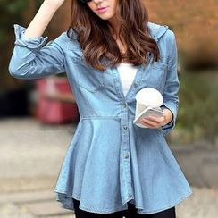 Amella - Hooded Ruffled Denim Shirt