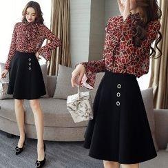 Romantica - Set: Printed Blouse + Hoop Detail Skirt