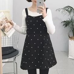 Moon City - Dotted A-Line Pinafore Dress