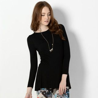 YesStyle Z - Round-Neck Slit-Back Long T-Shirt