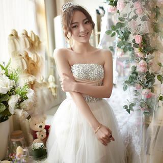 Luxury Style - Strapless Rhinestone Prom Dress