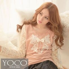 Tokyo Fashion - Lace Long-Sleeve Crochet-Appliqué Top