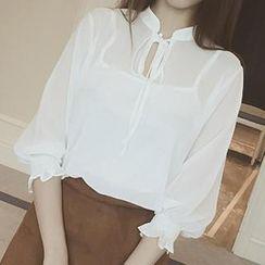 MayFair - Set: 3/4-Sleeve Chiffon Shirt + Tank Top