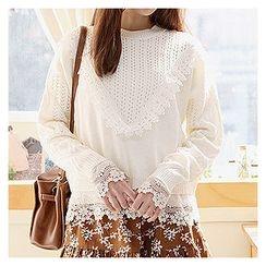 Sechuna - Drop-Shoulder Lace-Trim Knit Top