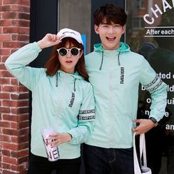 CASSY - Hooded Lettering Zip Couple Matching Jacket