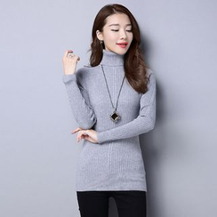 AiSun - Turtleneck Ribbed Knit Top